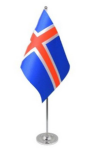 Iceland Desk / Table Flag with chrome stand and base
